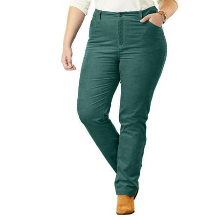 24c7afb3835 Woman Within - Plus Size Corduroy Straight Leg Stretch Pant - Walmart.com