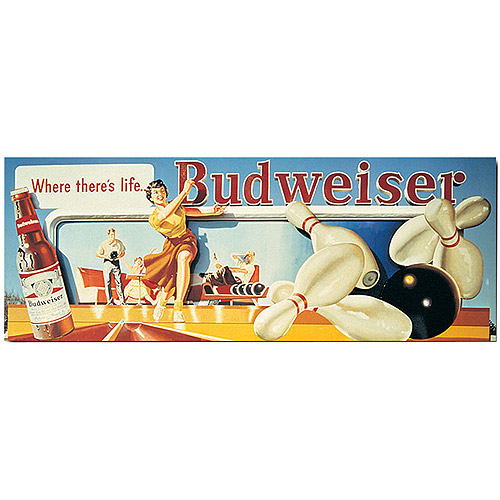 "Trademark Fine Art ""Budweiser Vintage Ad - Bowling Stretched"" Canvas Art, 14x30"