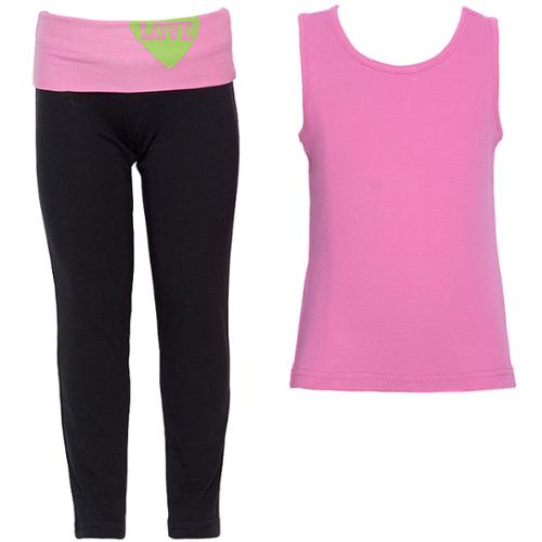 Crest Sport Little Girls Pink Camisole Black Pants 2 Piece Outfit 5