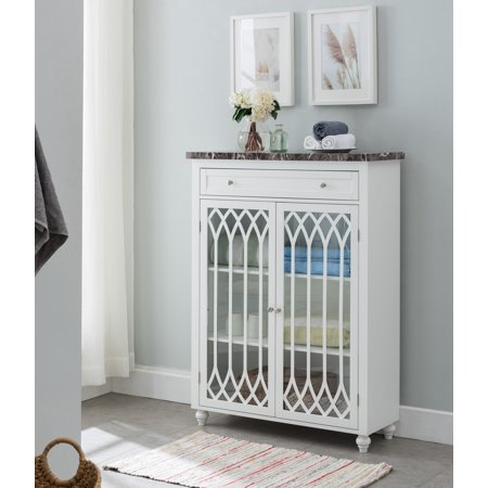 Marble Bathroom Storage Cabinet - Helsinki Bathroom Floor Storage Cabinet With Drawer, Glass Cabinet & Adjustable Shelves, White Wood With Faux Marble Top, Contemporray