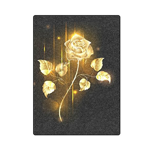 CADecor Glowing Golden Rose Couch Sofa or Bed Fleece Blanket Throw 58x80 inches