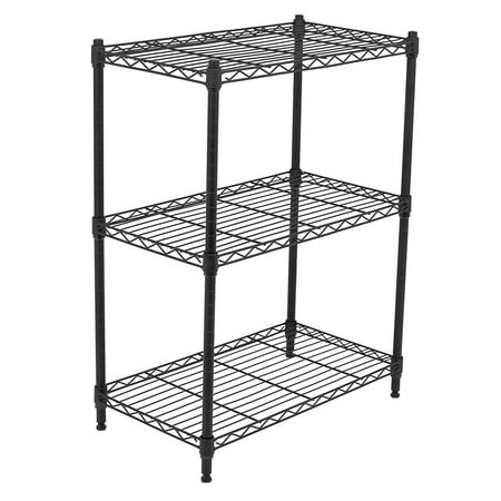 Internet's Best 3-Tier Wire Shelving | Flat Black | Heavy Duty Shelf | Wide Adjustable Rack Unit | Kitchen