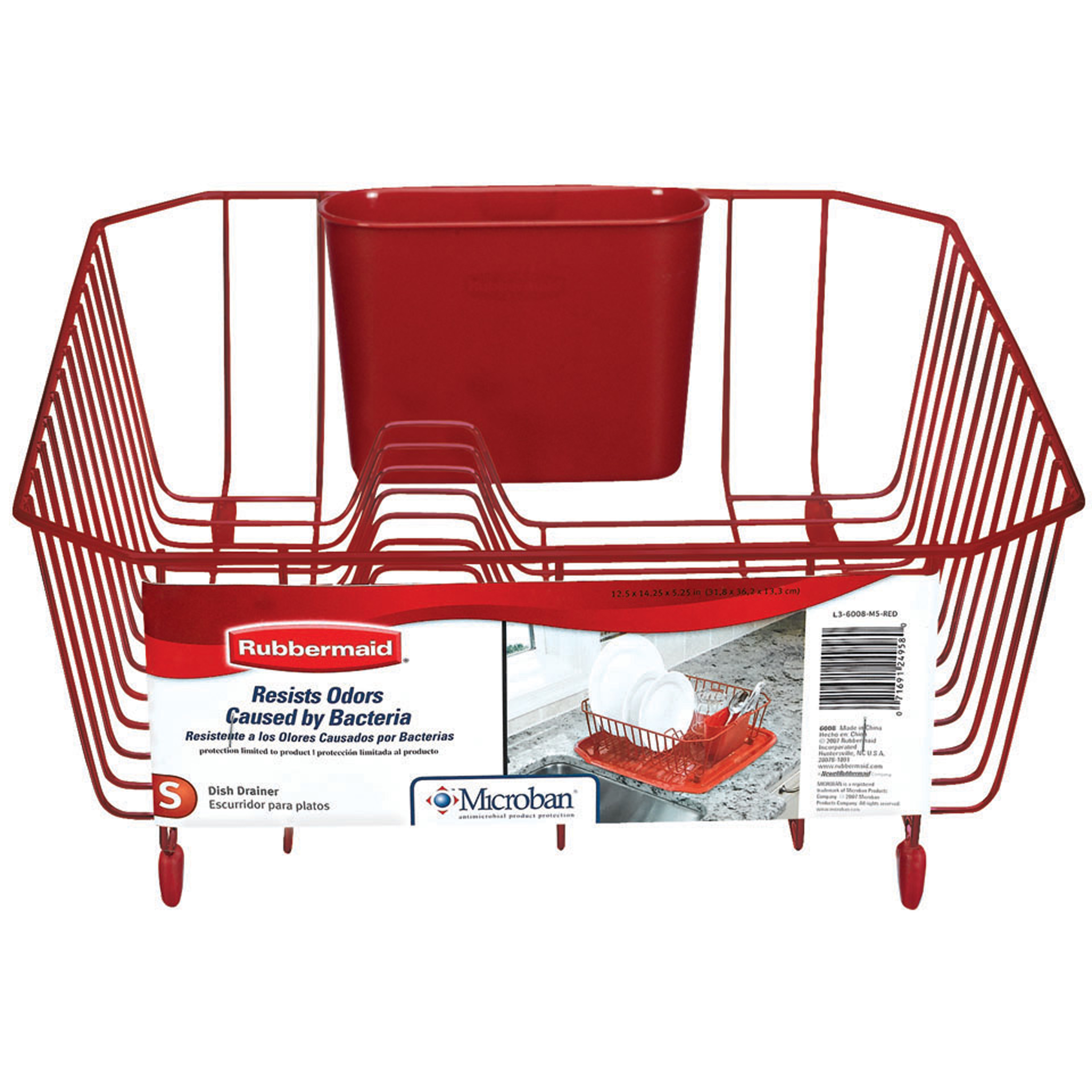 Rubbermaid Antimicrobial Dish Drainer, Small, Red