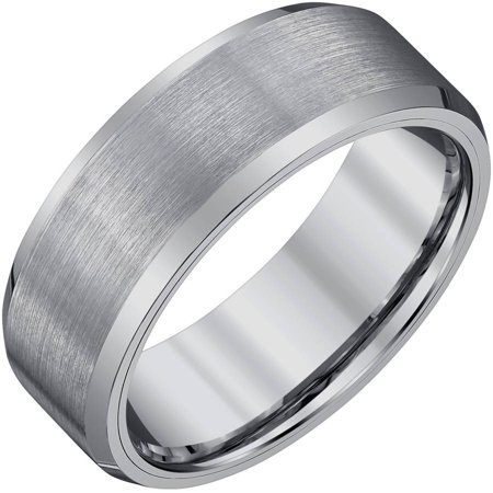 Tungsten Stone Finish Band (Men's Tungsten Band with Satin Finish, 8mm )
