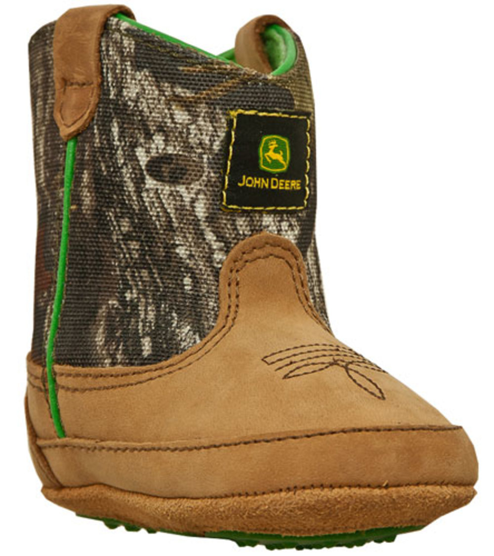 John Deere Johnny Popper Tan and Camo Crib Boots JD0188 by John Deere
