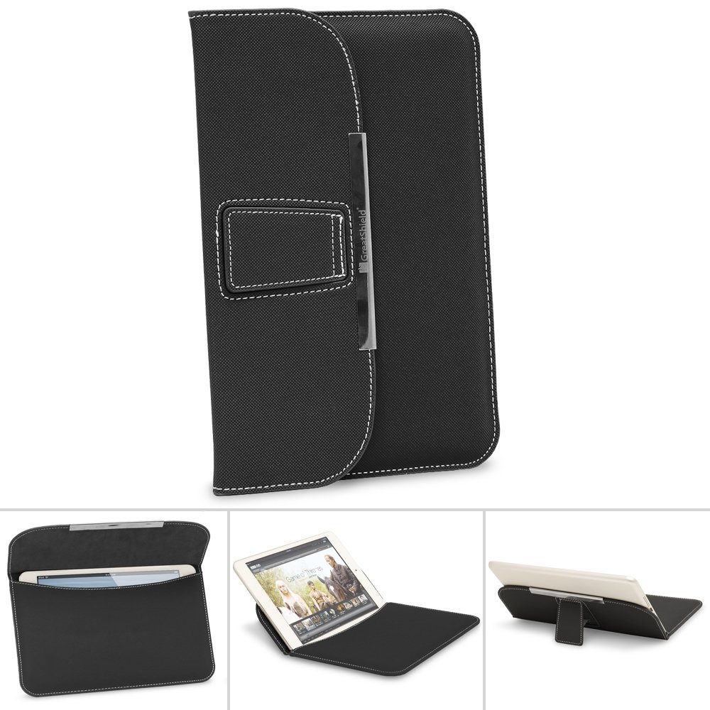 "GreatShield BRIEF PU Leather Sleeve Case with Stand for 7"" to 8""-inch Tablets - Fits Kindle Fire HD 6 2014 / Fire 2015 / Kindle 2014 / Papwerwhite 2015 / Voyage - Black"