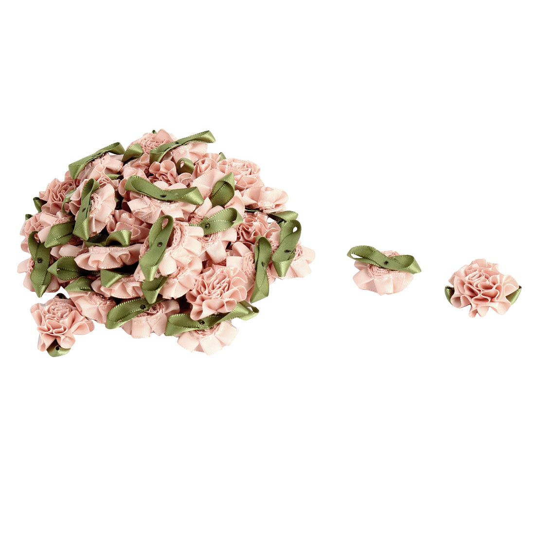 Satin Artificial Decorative Rose Bows Ribbon Flower Light Pink 40 PCS