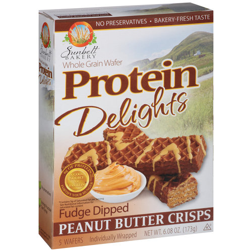Sunbelt Bakery Whole Grain Wafer Protein Delights Fudge Dipped Peanut Butter Crisps, 5 count, 6.08 oz