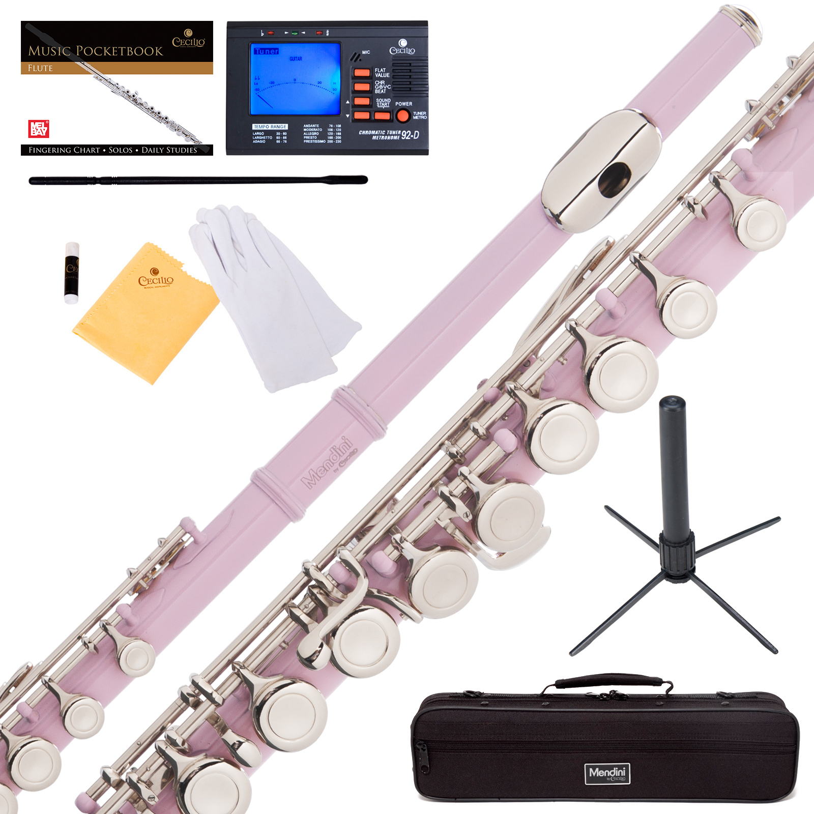 Mendini by Cecilio MFE-PK Pink Lacquer C Flute with Stand, Tuner, 1 Year Warranty, Case, Cleaning Rod, Cloth, Joint Grease, and Gloves