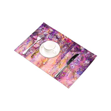 YUSDECOR Abstract Spring Flowers Watercolor Wisteria Blossoms Painting Placemats Table Mats for Dining Room Kitchen Table Decoration 12x18 inch,Set of 6 - image 1 de 4