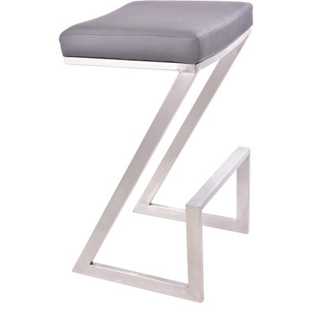 Armen Living Atlantis Backless Barstool, Brushed Stainless Steel Finish with PU Upholstery ()