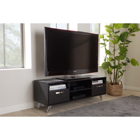 Baxton Studio Warwick Modern and Contemporary Espresso Brown Finished Wood TV Stand Deep Espresso Finish