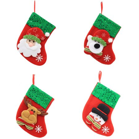 4pcs Xmas Stockings Merry Christmas Decorations Bags Socks Classic Candy Bag Hanging Ornament(Snowman Elk Bear Santa Claus) ()