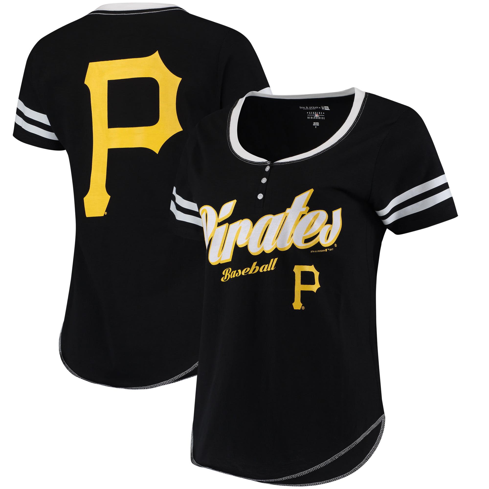 Pittsburgh Pirates 5th & Ocean by New Era Women's Slub Henley T-Shirt - Black/White