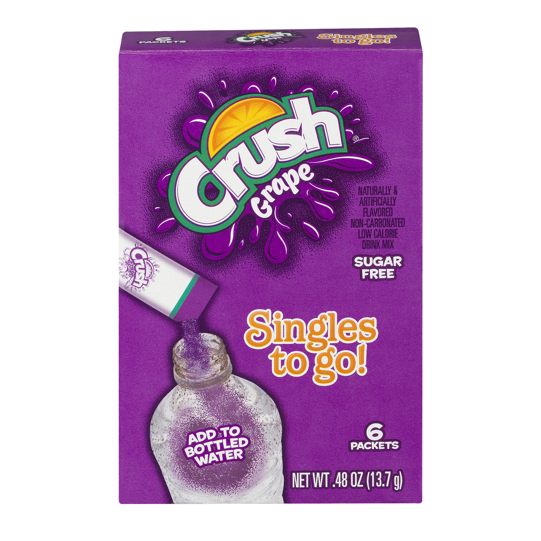 Crush Singles To Go! Low Calorie Drink Mix Sugar Free Grape - 6 PK, 0.48 OZ