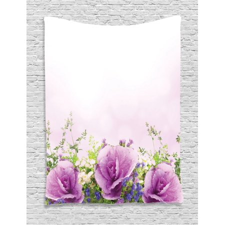 Flower Tapestry, Spring Cabbage Flowers in Fragrant Bouquet with Partially Shaded Color Romance, Wall Hanging for Bedroom Living Room Dorm Decor, Lavender Green, by Ambesonne