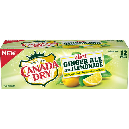 (2 Pack) Diet Canada Dry Ginger Ale and Lemonade, 12 Fl Oz Cans, 12 -