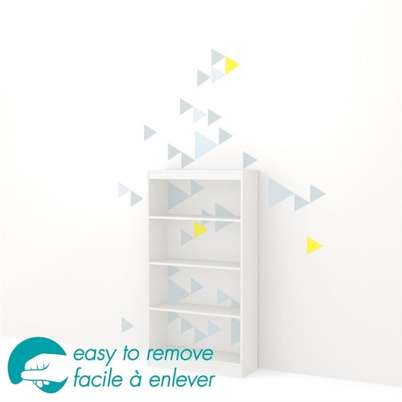 South Shore Axess 4 Shelf Funny Triangle Decal Bookcase in White by South Shore