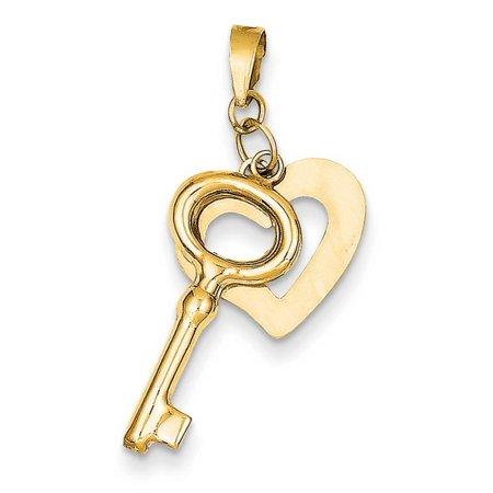 14k Gold Polished Heart and Key Pendant ()