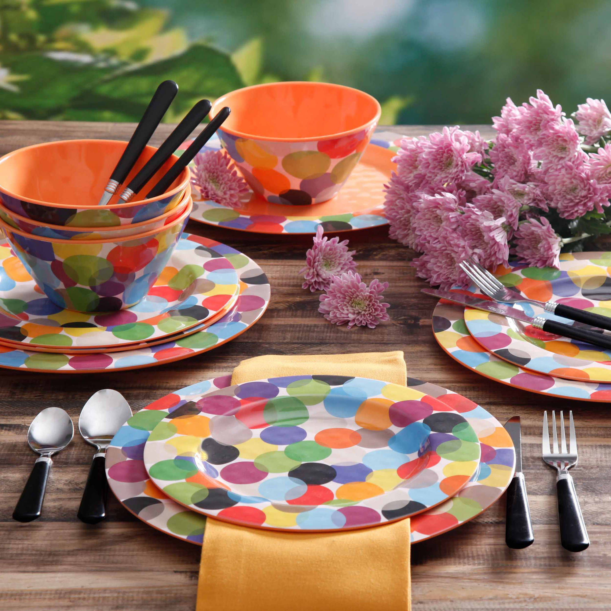 Laguna Gallery Splash 12-Piece Melamine Dinnerware Set