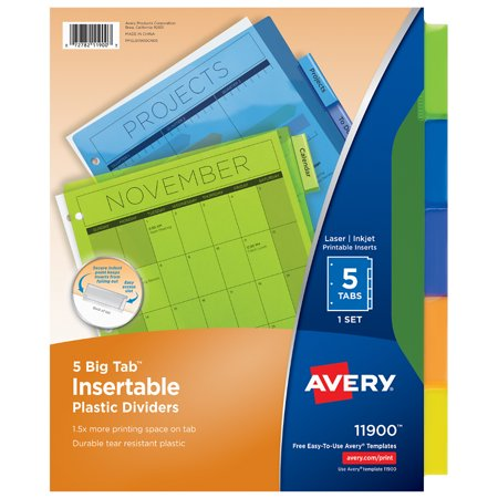 avery big tab insertable plastic dividers multi color 5 count