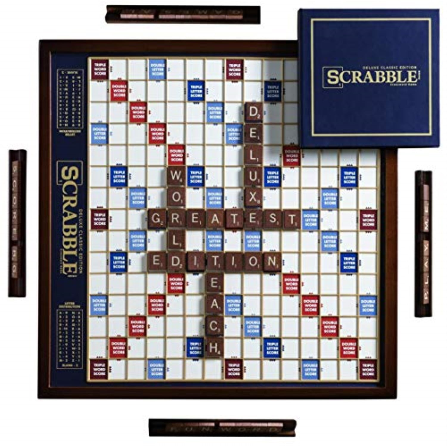 Winning Solutions Scrabble Deluxe Wooden Edition with Rotating Game Board by