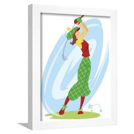 Woman Swinging Golf Club Framed Print Wall Art ()