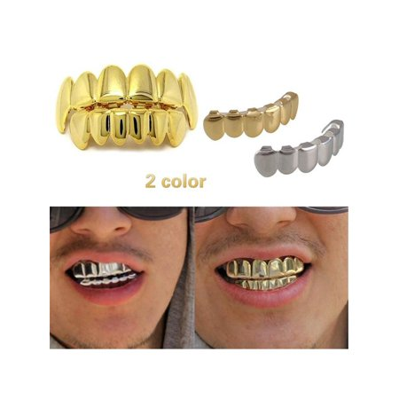 1 Set Gold Plated Hip Hop Teeth Grillz Cap Top & Bottom Teeth Grills Party - Fake Teeth Grillz