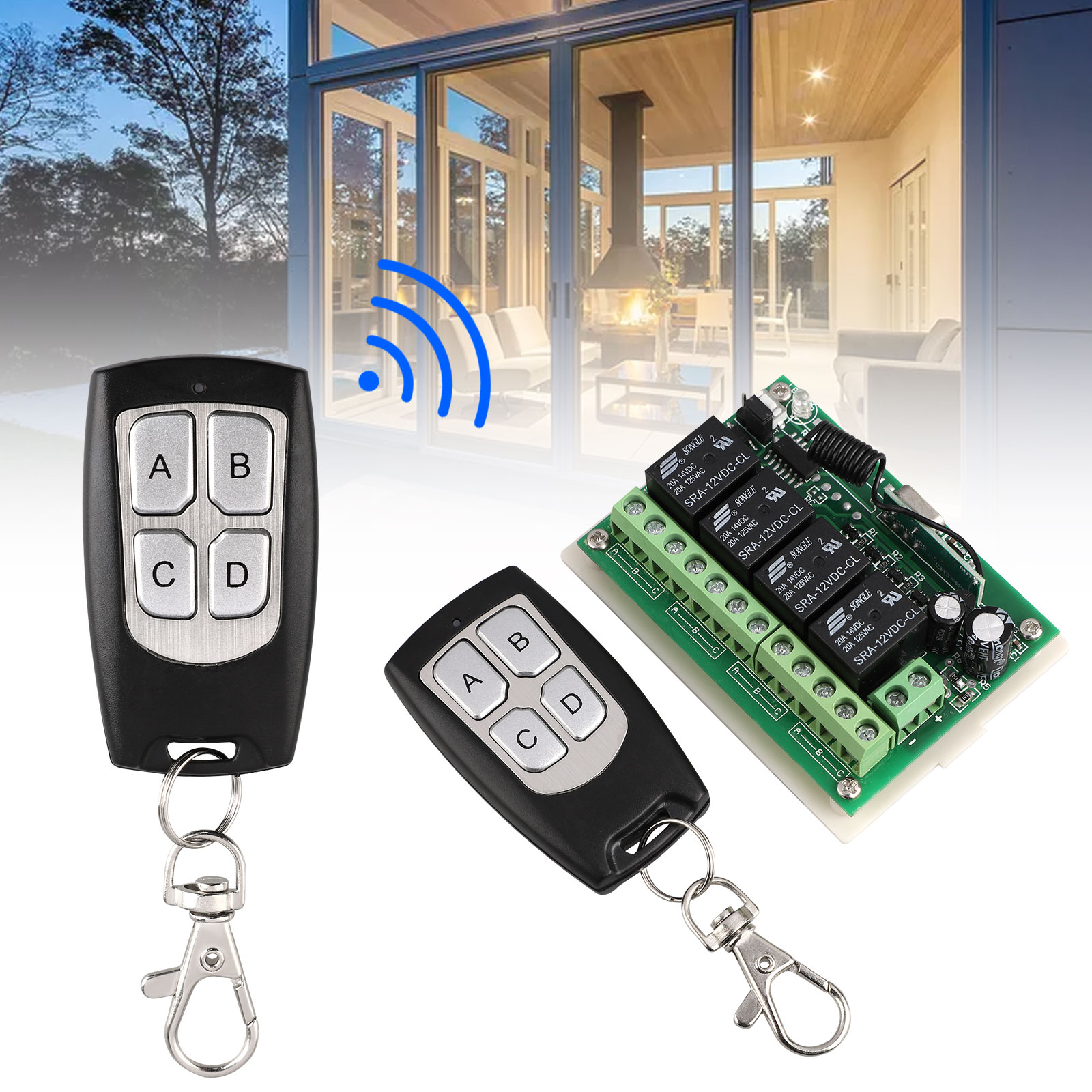 Wireless Relay Switch DC12V 315MHz 2 Remote Control for Curtain Garage Door