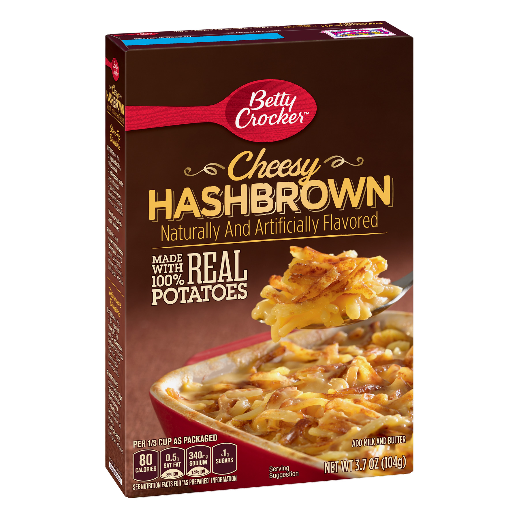 Betty Crocker Cheesy Hash brown Potatoes, 3.7 oz Box
