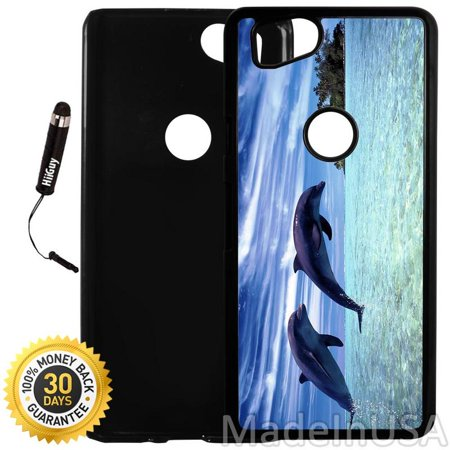 Dolphin Plastic Lights (Custom Google Pixel 2 Case (Beautiful Dolphin Tropical) Plastic Black Cover Ultra Slim | Lightweight | Includes Stylus Pen by Innosub)