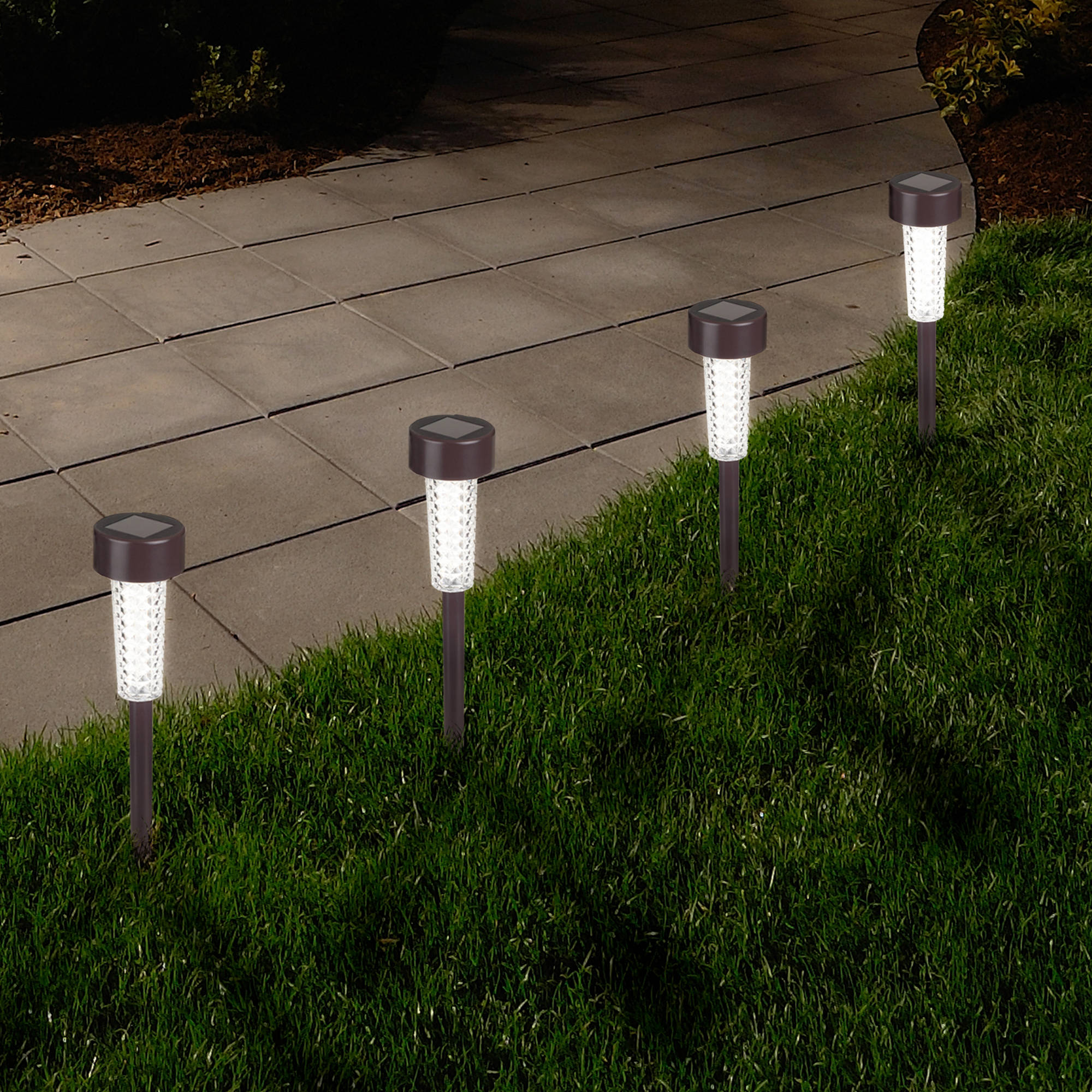 Solar Powered Lights (Set of 6)- LED Outdoor Stake Spotlight Fixture for Gardens, Pathways, and Patios by Pure Garden-Bronze