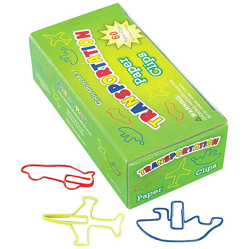 Childcraft Transportation Shapes Paper Clips, 60-Pack
