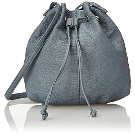 Wild Pair  Womens Faux Leather Drawstring Bucket Handbag Blue Medium