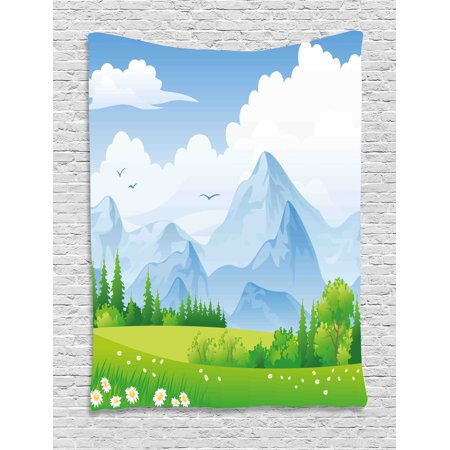Nature Tapestry  Summer Meadow With Daisy Flower Field With Mountain Happy Eco Landscape  Wall Hanging For Bedroom Living Room Dorm Decor  40W X 60L Inches  Lime Green Light Blue  By Ambesonne