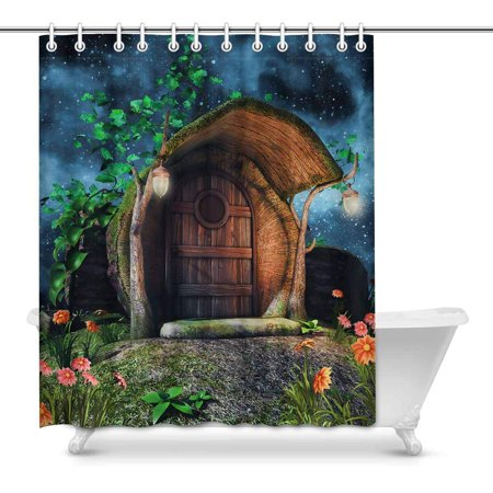 MKHERT Fairytale Tree Trunk Cottage Ivy Flowers Lamps at Night Home Decor Waterproof Polyester Fabric Shower Curtain Bathroom Sets Hooks 60x72 inch