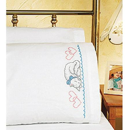Cross Stitch Pillowcase (Janlynn Kitty Pillowcase Pair Stamped Cross Stitch, 20