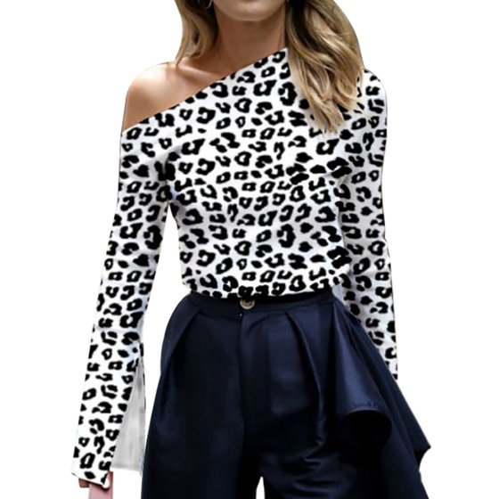 0dc7a4221aaf2 Nicesee - Women Sexy Off Shoulder Long Sleeve Leopard Print Blouse Tops -  Walmart.com