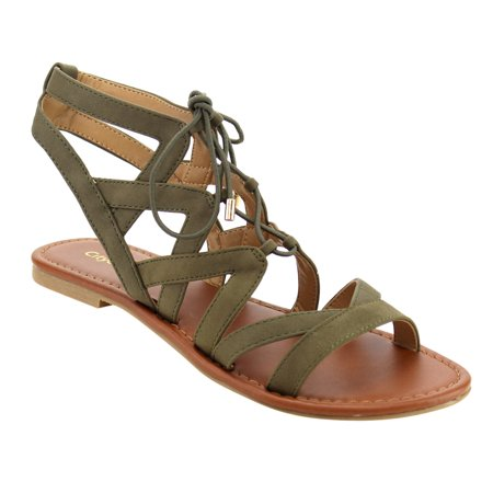 da24faa6ba4d84 CityClassified - CityClassified ID44 Women Lace Up Criss Cross Strappy  Backless Flat Sandals - Walmart.com