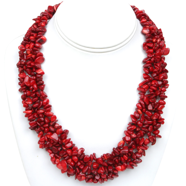 "18"" Multi Strands Red Coral Chips Cluster Necklace with Lobster Clasp"