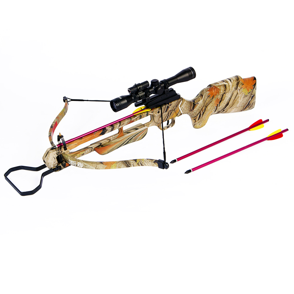 150 lb Preminum Wood / Camouflage Pre-Strung Hunting Crossbow Archery Bow w/ 4x20 Scope +12 Arrows / Bolts 180 80 50