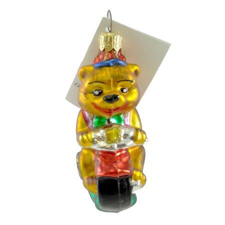 Christopher Radko FIRST RIDE Blown Glass Tricycle Teddy Bear Ornament