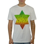 Bob Marley David Star Graphical Design Front Printed Men's Casual T-shirt, White