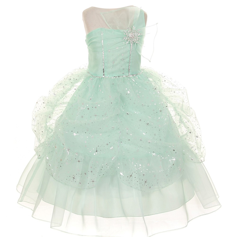 Girls Mint One Shoulder Bow Sparkle Organza Pick Up Party...