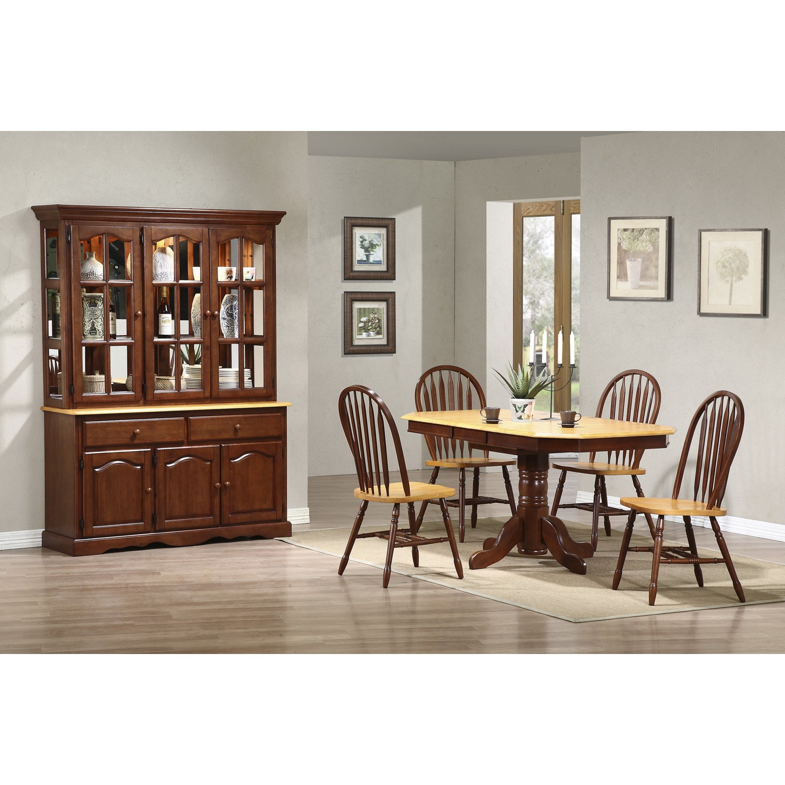 Sunset Trading 6-Piece Pedestal Extension Dining Room Set with China Cabinet by