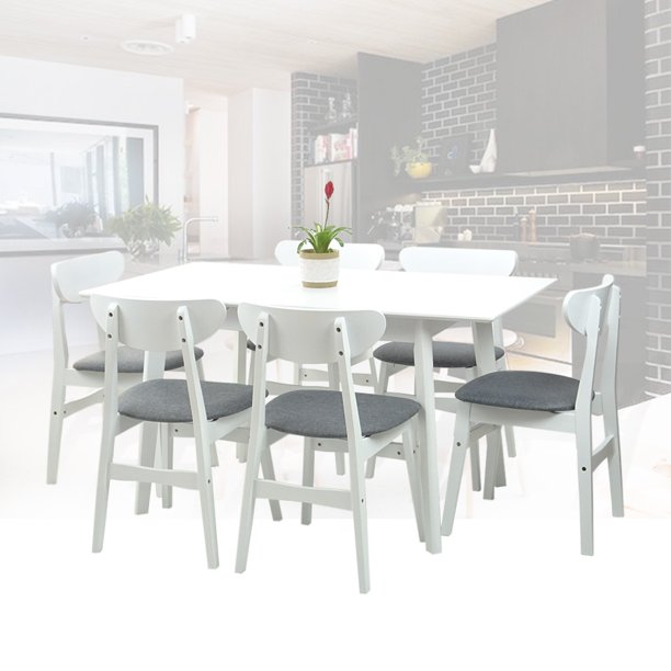 Dining Room Set Of 6 Yumiko Chairs And, Dining Room Table With 6 Chairs White