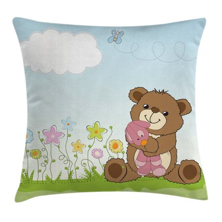 Kids Throw Pillow Cushion Cover, Cartoon Style Cute Teddy Bear with Toy in Meadow Swirled Flowers Butterfly and Cloud, Decorative Square Accent Pillow Case, 18 X 18 Inches, Multicolor, by Ambesonne
