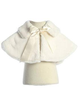 Sweet Kids Girls Ivory Fluffy Faux Ribbon Closure Cape 8-12