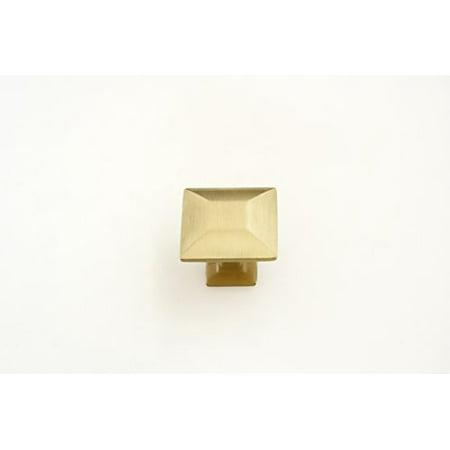 1/4 Inch Modern Brass Knob - Hamilton Bowes Satin Brass Cabinet Hardware Square 1.16