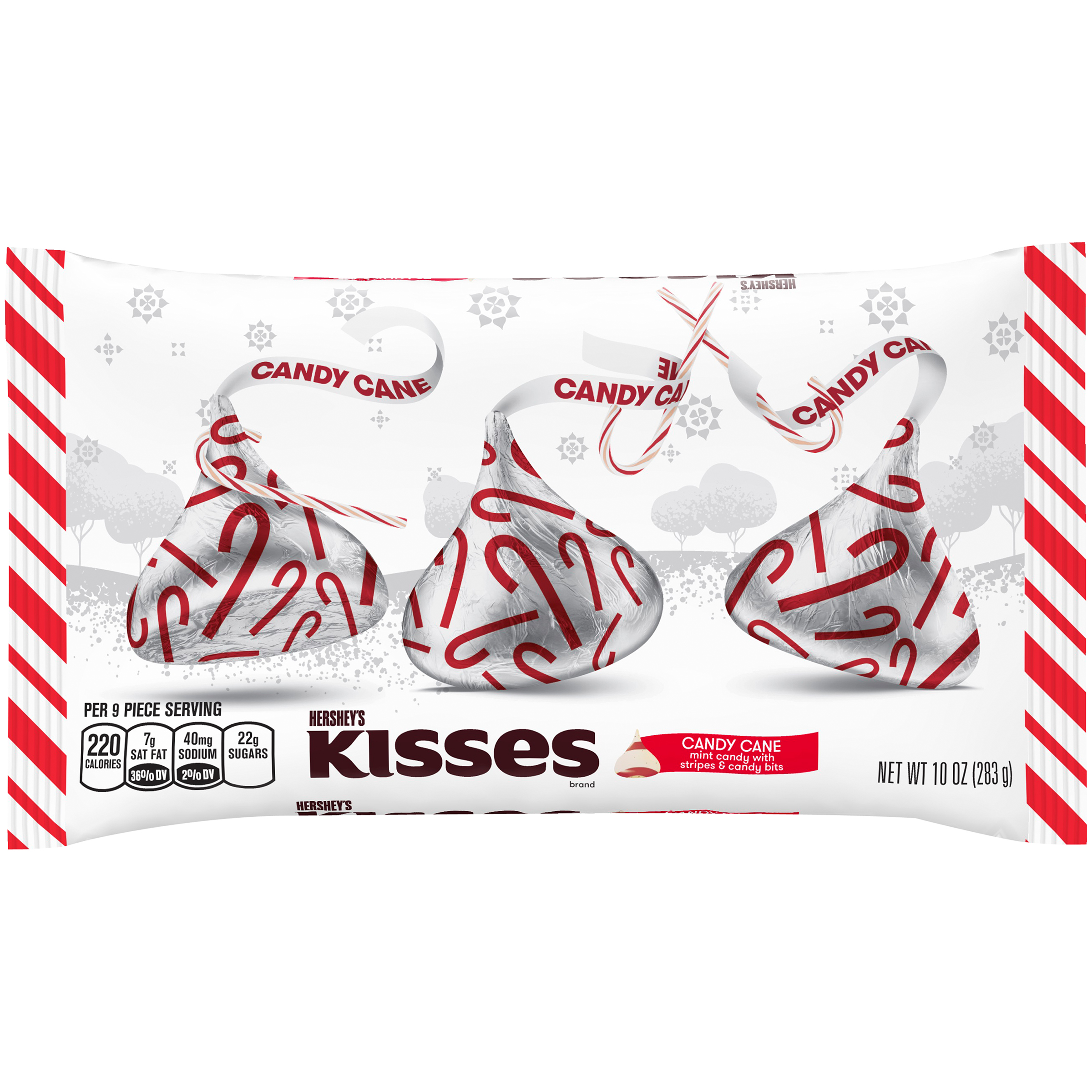 KISSES Holiday Candy Cane Mint Candies, 10 oz